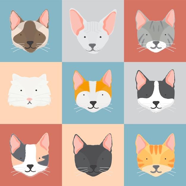 Illustratie van katteninzameling Gratis Vector