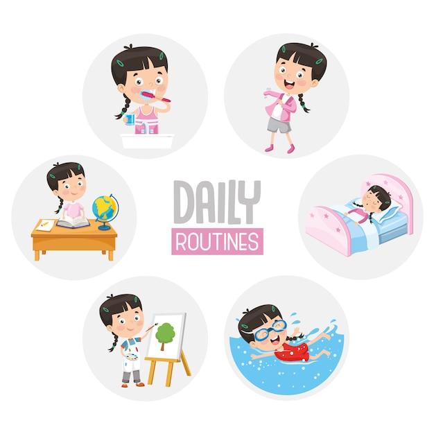 Illustratie van kid daily routine-activiteiten Premium Vector
