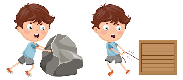 Illustratie van kid pushing and pulling Premium Vector