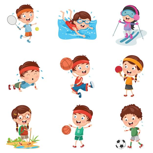 Illustratie van kinderen die sport maken Premium Vector