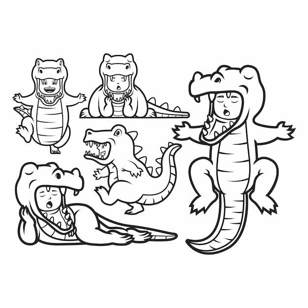 Illustratie van kinderen dragen dinosaurus kostuums. Premium Vector