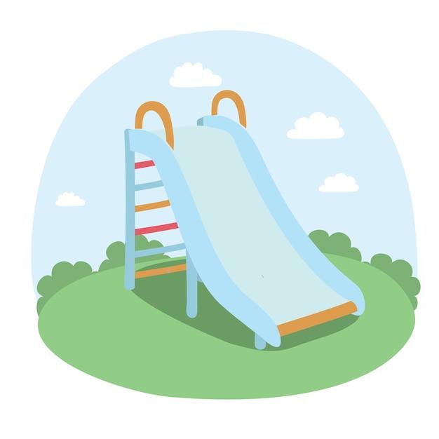 Illustratie van kinderen glijden in het park; Premium Vector