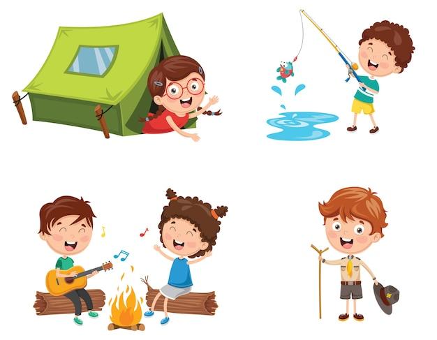 Illustratie van kinderen kamperen Premium Vector