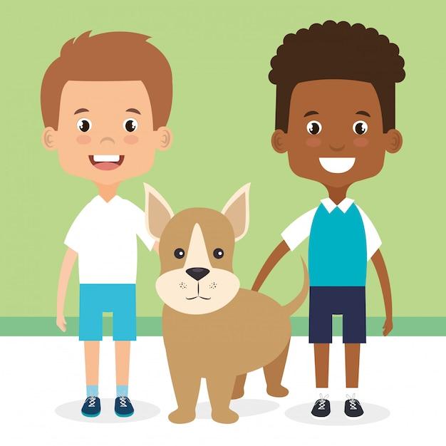 Illustratie van kinderen met hond tekens Gratis Vector