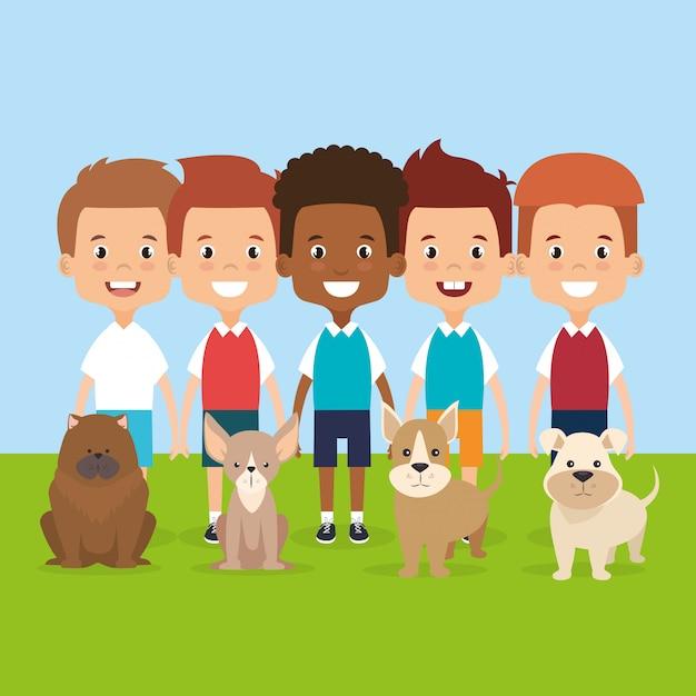 Illustratie van kinderen met huisdieren tekens Gratis Vector