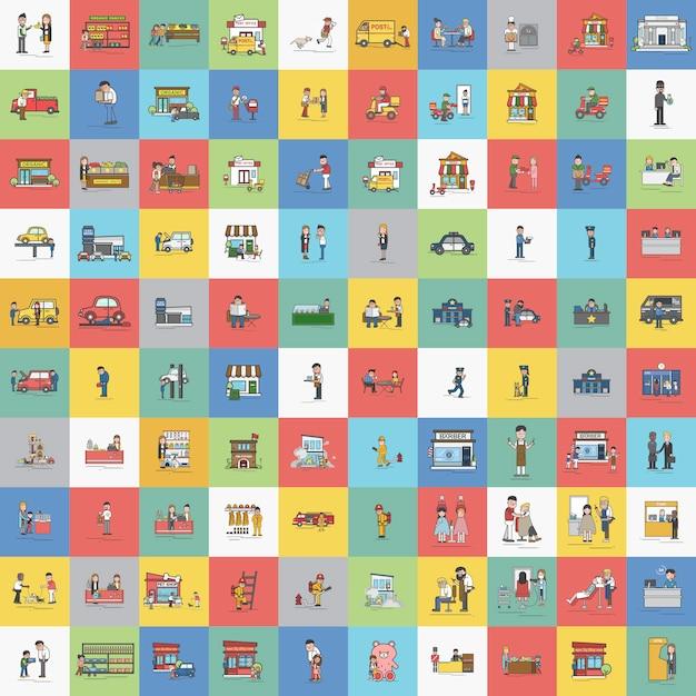 Illustratie van kleine bedrijfs vectorreeks Gratis Vector