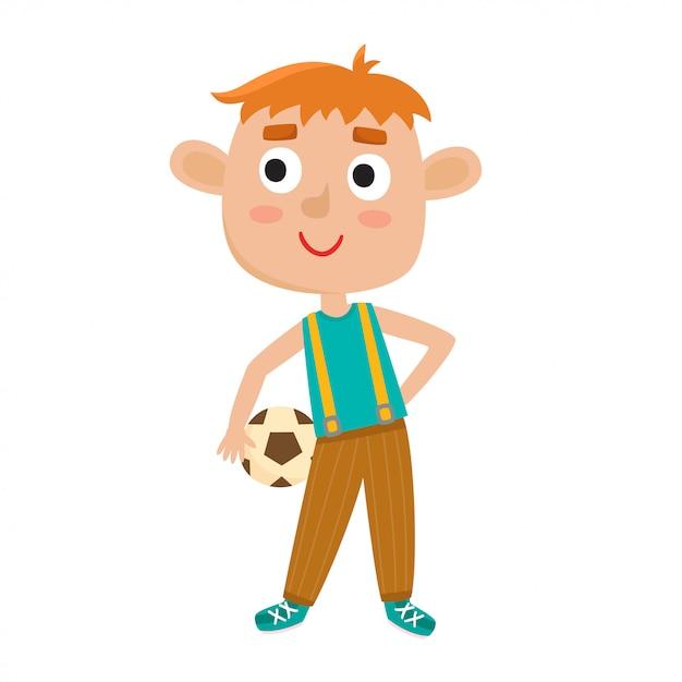 Illustratie van kleine jongen in shirt en spijkerbroek voetballen. Premium Vector