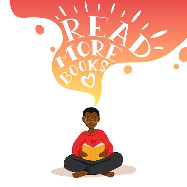 Illustratie van kleine jongen zitten en boek lezen, dromen. Premium Vector