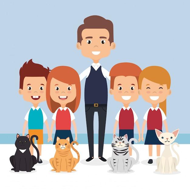 Illustratie van kleine kinderen met huisdieren tekens Gratis Vector