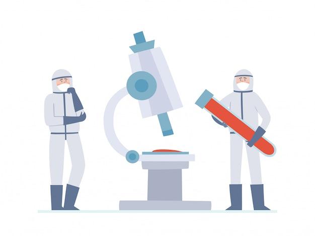Illustratie van kleine twee artsen - wetenschappers en grote microscoop geïsoleerd op wit. denkende medische hulpverleners en grote buis met bloed in preventiemaskers tegen stedelijke luchtverontreiniging, coronavirus. Premium Vector