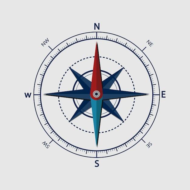 Illustratie van kompas Gratis Vector