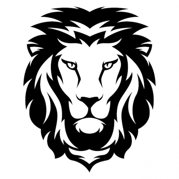 Illustratie van leeuw met zwart en witte stijl Premium Vector