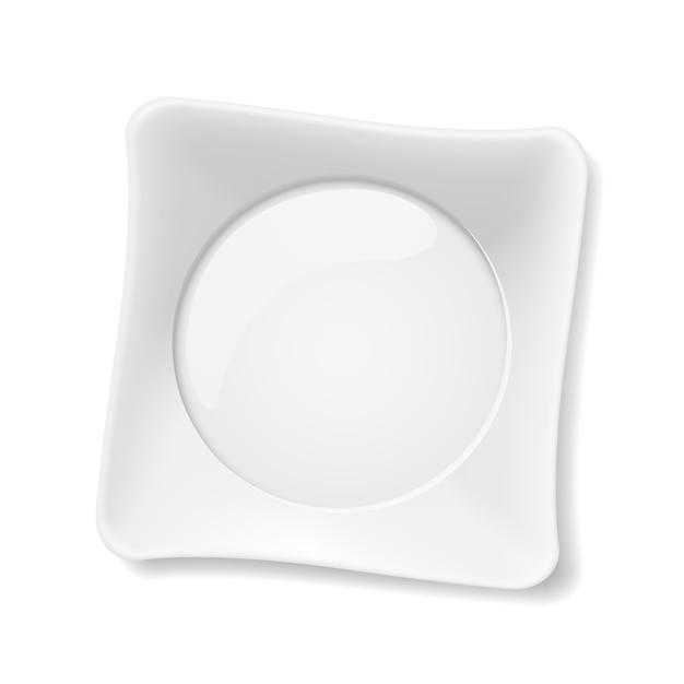 Illustratie van lege witte plaat op witte achtergrond Premium Vector