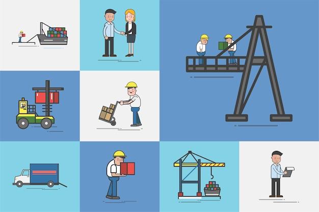 Illustratie van logistieke dienst vector set Gratis Vector