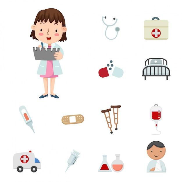 Illustratie van medische pictogrammen Premium Vector