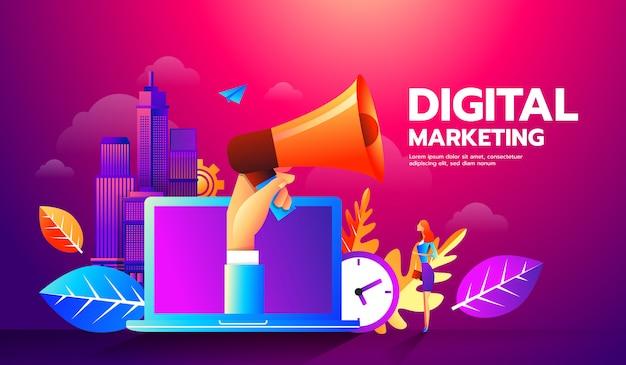Illustratie van megafoon en verschillende pictogrammen voor digital marketing-concept. Premium Vector