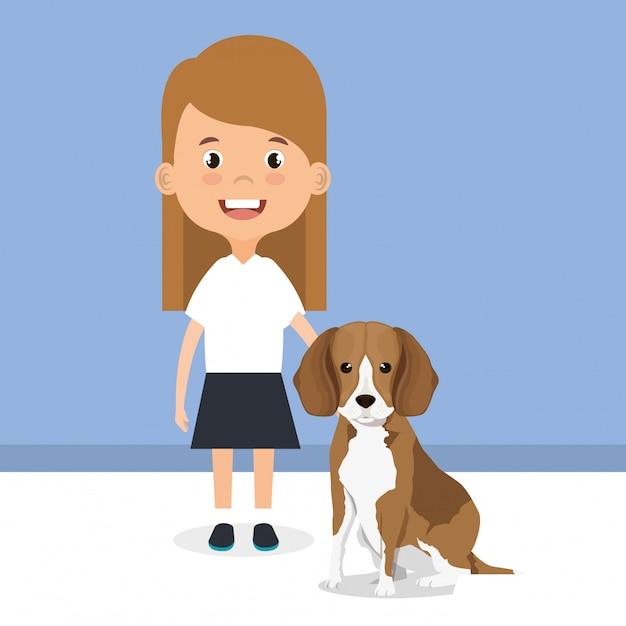 Illustratie van meisje met hondkarakter Gratis Vector