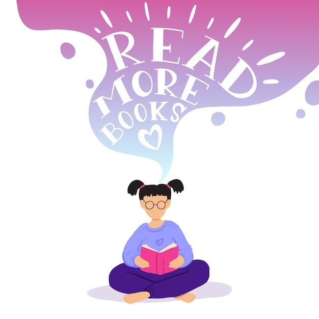 Illustratie van meisje zitten en boek lezen, dromen. Premium Vector