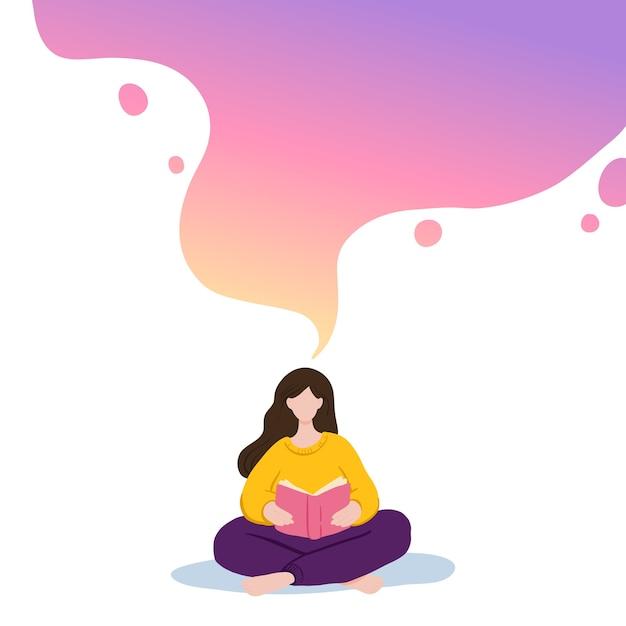 Illustratie van meisje zitten en lezen van boek, dromen. Premium Vector