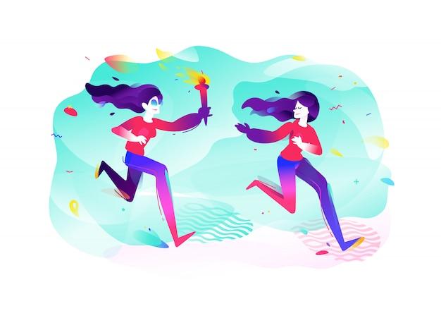 Illustratie van meisjes met een fakkel Premium Vector
