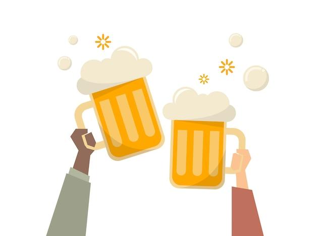 Illustratie van mensen die bieren hebben Gratis Vector