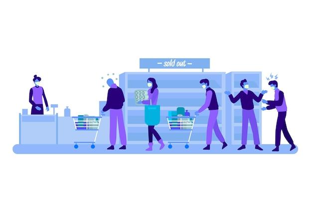 Illustratie van mensen die bij de supermarkt winkelen Gratis Vector
