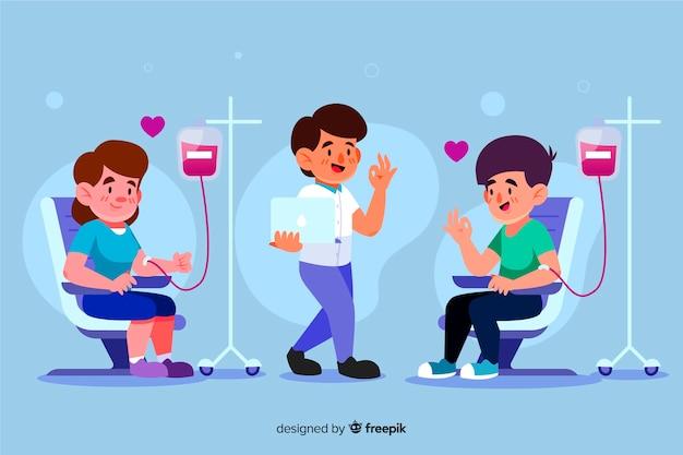 Illustratie van mensen die bloed doneren Gratis Vector