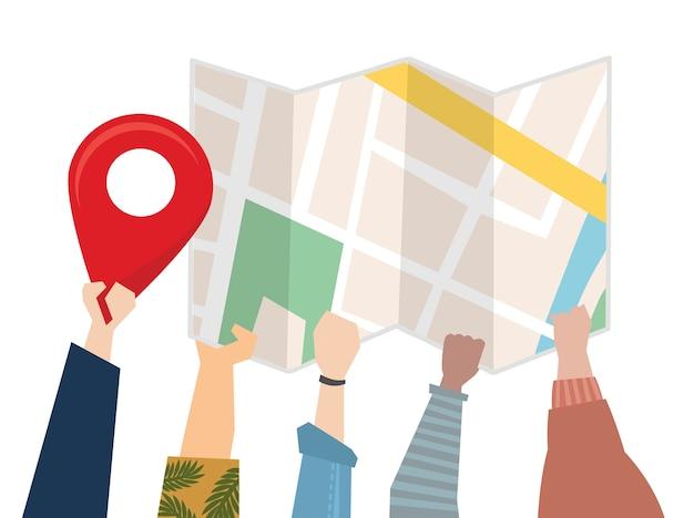 Illustratie van mensen die een kaart voor richting gebruiken Gratis Vector