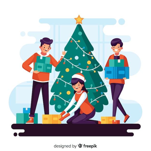 Illustratie van mensen die een kerstmisboom verfraaien Gratis Vector