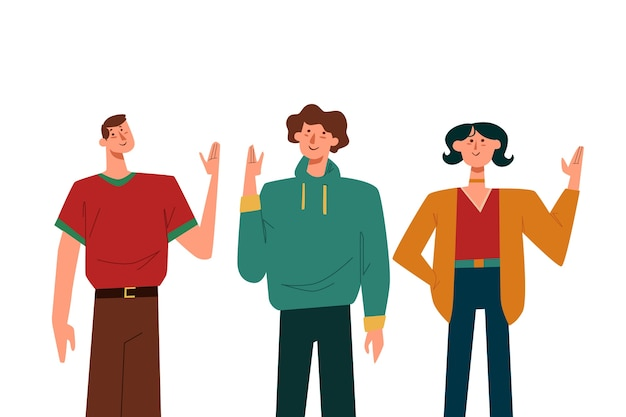 Illustratie van mensen die hand golven Gratis Vector