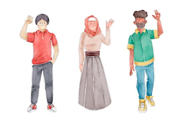Illustratie van mensen die handen golven Gratis Vector