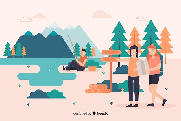 Illustratie van mensen die in aard kamperen Gratis Vector