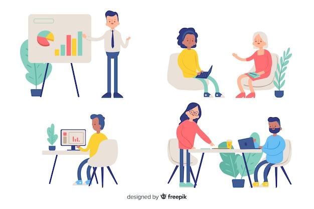 Illustratie van mensen die in bureau werken Gratis Vector