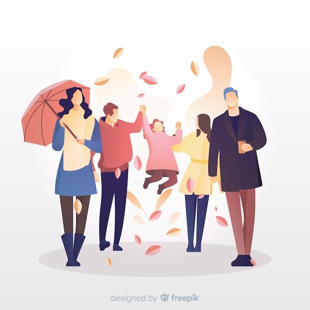 Illustratie van mensen die in de herfst lopen Gratis Vector