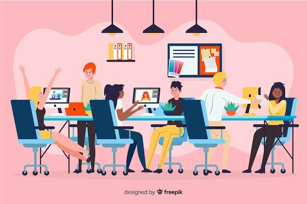 Illustratie van mensen die samenwerken Gratis Vector
