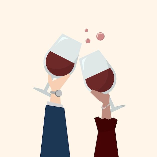 Illustratie van mensen die wijn drinken Gratis Vector