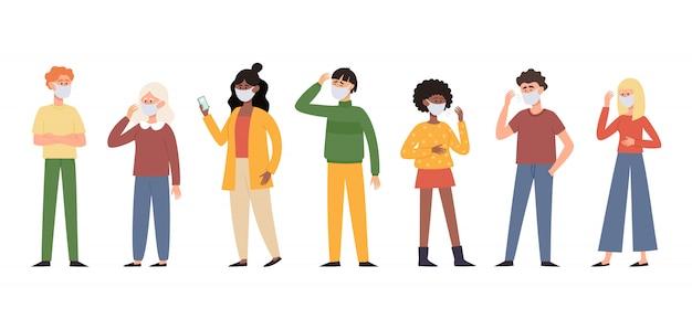 Illustratie van mensen in beschermende stofmaskers Premium Vector