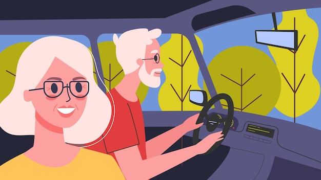 Illustratie van mensen in hun auto. mannelijke personage autorijden met zijn vrouw. familie-uitstapje, oude man en vrouw onderweg. Premium Vector