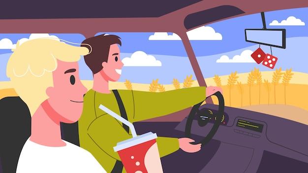 Illustratie van mensen in hun auto. mannelijke personages autorijden. vrienden in de auto onderweg. Premium Vector