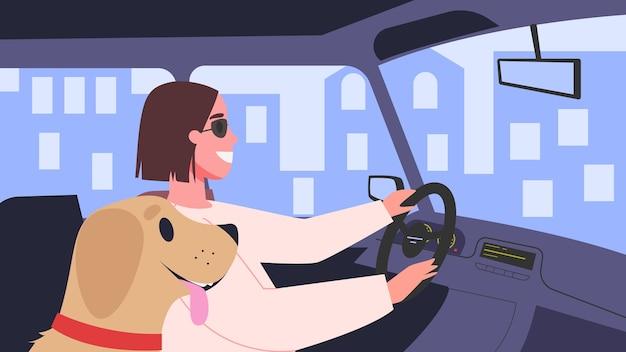 Illustratie van mensen in hun auto. vrouwelijke personage autorijden met haar hond. vrouw in de auto onderweg. Premium Vector