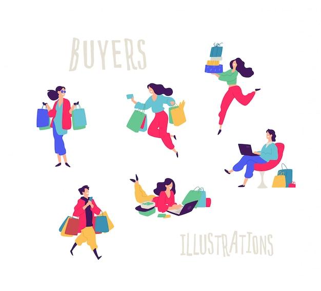 Illustratie van mensen met aankopen. Premium Vector
