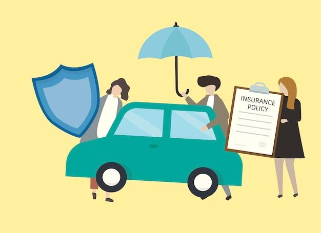 Illustratie van mensen met de illustratie van de autoverzekering Gratis Vector