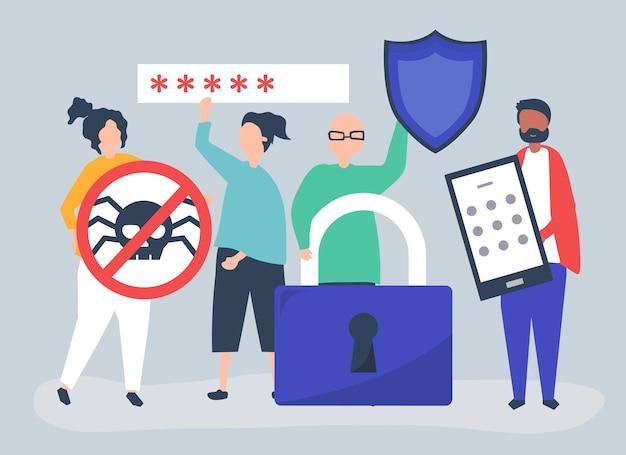 Illustratie van mensen met privacy en veiligheidspictogrammen Gratis Vector