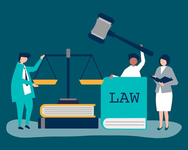 Illustratie van mensen met rechtvaardigheid en ordepictogrammen Gratis Vector