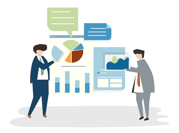 Illustratie van mensenavatar businessplanconcept Gratis Vector