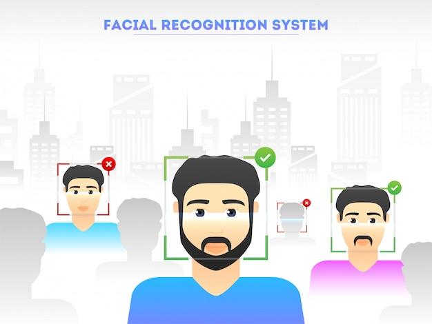 Illustratie van mensengezichtscanning voor identiteitsherkenning Premium Vector