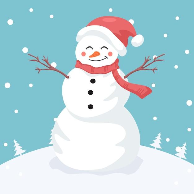 Illustratie van merry snowman Premium Vector