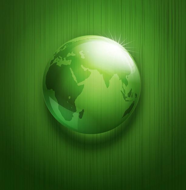 Illustratie van milieu-achtergrond met transparante groene bol Premium Vector