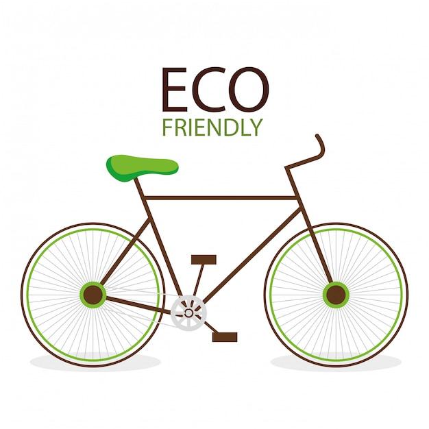 Illustratie van milieuvriendelijke milieufiets Gratis Vector