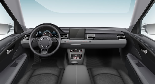 Illustratie van moderne auto-interieur auto Premium Vector